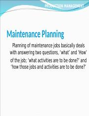 10 Maintenence Planning.ppt
