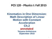 L Math Desctiption of Knematics with Constant Linear Acceleration Ch 2 September 2015 annotated