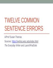 Twelve Common Sentence Errors