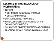 LECTURE 1 - THE BALANCE OF PAYMENTS ACCOUNTS