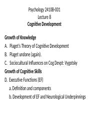 Lecture 8 2019 Cognitive Development in Childhood - OWL.pptx