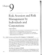 Chap 9-Risk Aversion and Risk Management by Individuals and Corporations