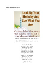 What Birthday Are You