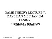 GAME THEORY (2015) LECTURE 7.1