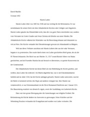 Informal German Essay on Martin Luther