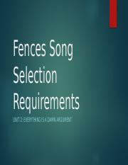 Fences Song Selection Requirements.pptx