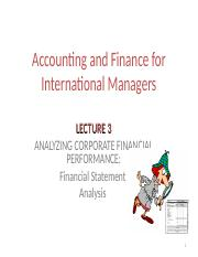 Lecture 3 Analysing Corporate Performance