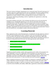Personnel and Organizational Policy - Personnel Assessment Techniques.docx