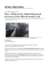 WSJ - Three Risks to the Global Financial System as Debt Hits Record Levels, 5 Oct 2016.pdf