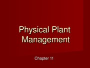 Chapter 11 Physical Plant Management