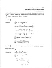 Algebraic Equations on variables