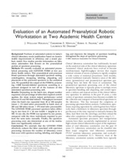 Evaluation of an Automated Preanalytical Robotic Workstation at Two Academic Health Centers