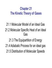 Chapter21 - The Kinetic Theory of Gases