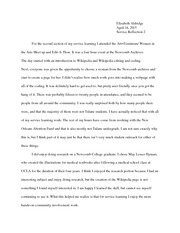 Service Learning Reflection Paper 2- Women in the Arts