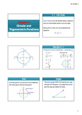 Chapter 4.1 Circular and Trigonometric Functions