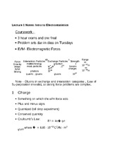 Lecture 1 Notes Intro to Electrostatistics