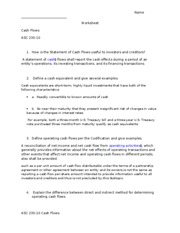 Cash Flows 230 10 worksheet