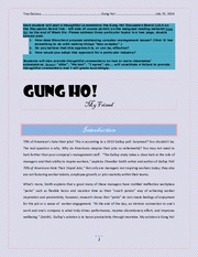 gung ho summary essay Read this essay on gung ho come browse our large digital warehouse of free sample essays get the knowledge you need in order to pass your classes and more only at termpaperwarehousecom.