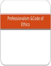 Professionalism and Codes of Ethics
