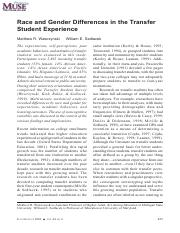Wawrzynski et al - Race and Gender Differences in the Transfer Student Experience.pdf