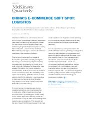 Chinas ecommerce soft spot Logistics