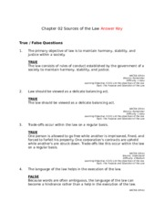 Chapter 02 Sources of the Law Answer Key