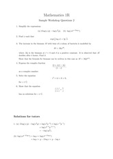 Answers to Maths Workshop 2 Sample Questions and Solutions