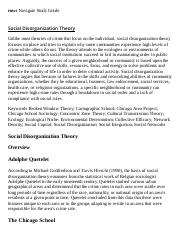 Social Disorganization Theory Research Paper Starter - eNotes