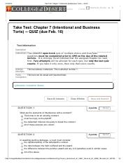 Take Test_ Chapter 7 (Intentional and Business Torts) QUIZ