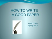 CP How to Write A Good Paper