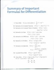 Formulas for Differentiation 1