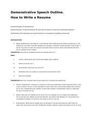 Demonstrative Speech Outline (How to Write a Resume) July 10th 2017.docx