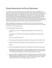 Exam Instructions for Essay Questions
