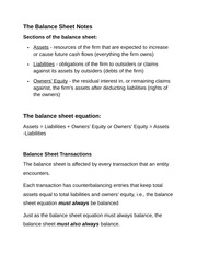 The Balance Sheet Notes