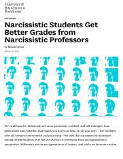 Narcissistic Students Get Better Grades from Narcissistic Professors