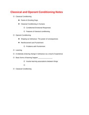 Classical and Operant Conditioning Notes