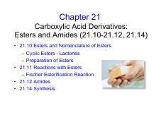 Lecture 26 Chapter 21 part 4 Carboxylic Acid Derivatives Esters all-1