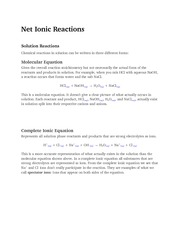 Net Ionic Reactions