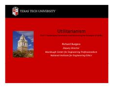 Utilitarianism Powerpoint Spring 2013  - (Parts I and II)