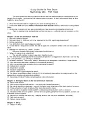 Study Guide for First Exam Fall 2014