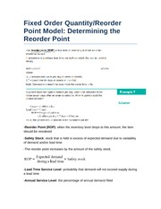 Fixed Order Quantity and Reorder Point Model- Determining the Reorder Point