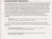 Hypothesis and predictions