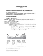 Economics and Conservation Notes