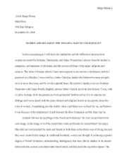 Reyna Linda Women and religion paper