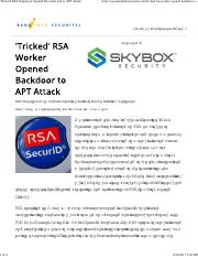 'Tricked' RSA Employee Opened Door that Led to APT Attack