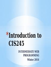 Introduction to CIS245