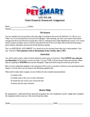 PetSmart- Client Research HW Assignment 1 (Fall 2011)