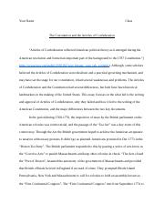 Articles of Confideration and Constitutuion Essay.docx