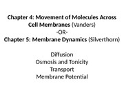 ch.4 Movement Across Cell Membrane