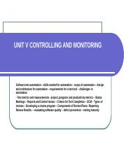 UNIT V CONTROLLING AND MONITORING